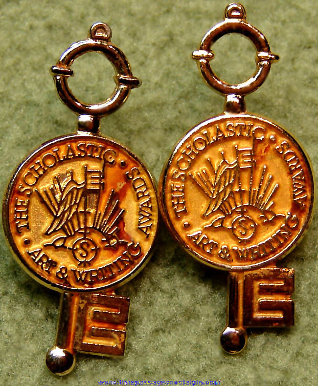 (2) Matching Old Art & Writing Scholastic Award Jewelry Key Pins