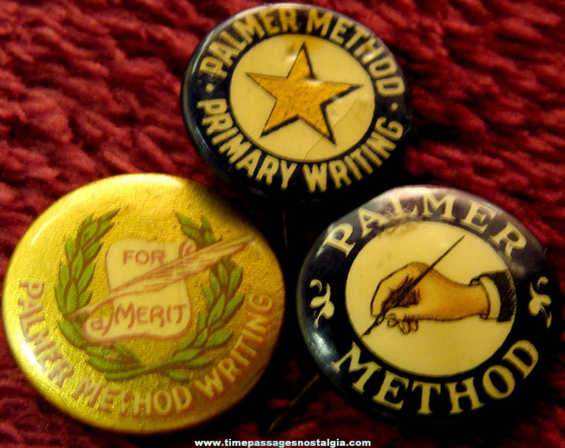 (3) Different Old Palmer Method Writing Award Celluloid Pin Back Buttons