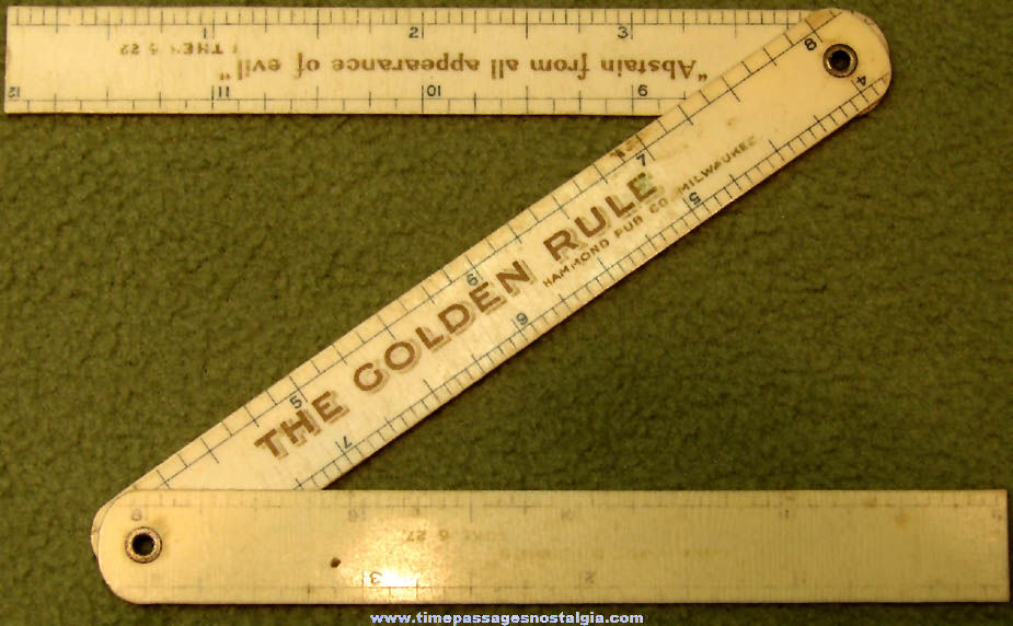 Hammond Publishing Company Advertising Premium The Golden Rule Religious Celluloid Folding Ruler