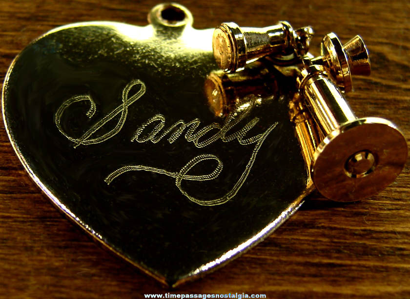 Old Engraved Metal Heart Charm with Candlestick Telephone