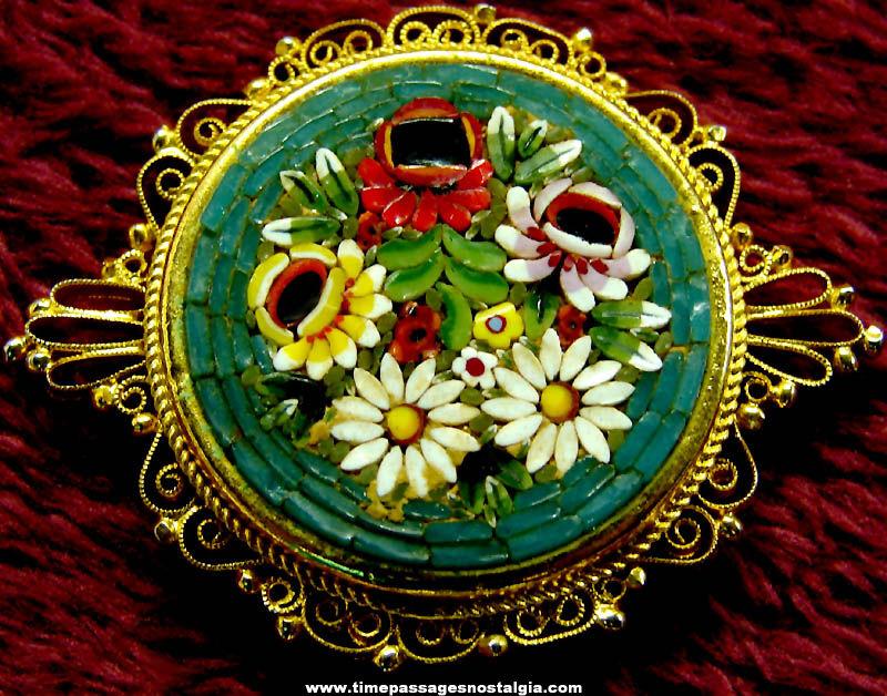 Old Italian Mosaic Flowers Costume Jewelry Brooch Pin
