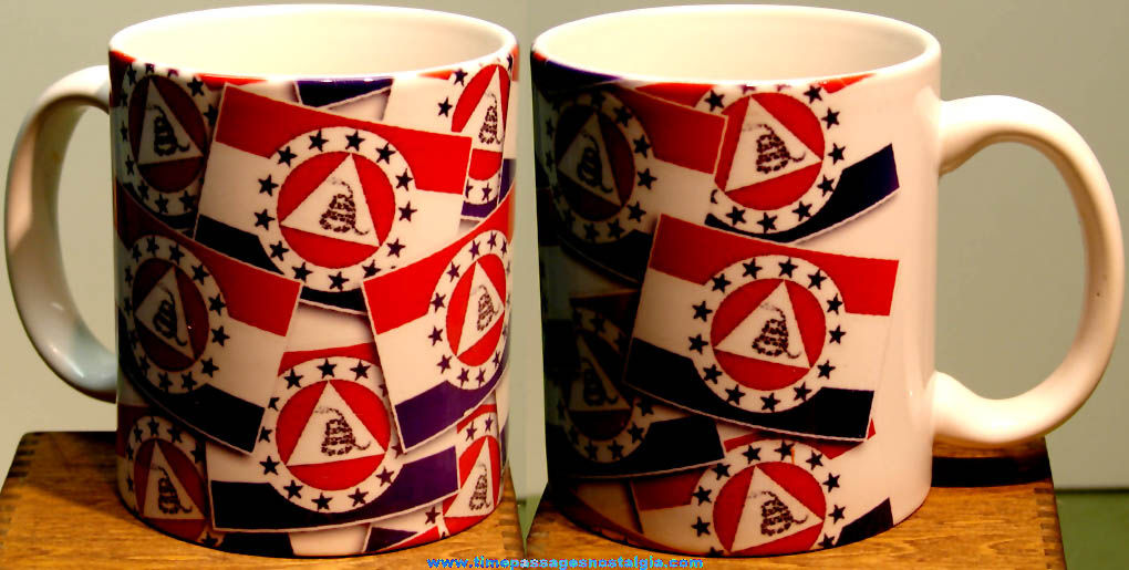 Colorful Gadsden Revolution Flag Political Ceramic Coffee Cup