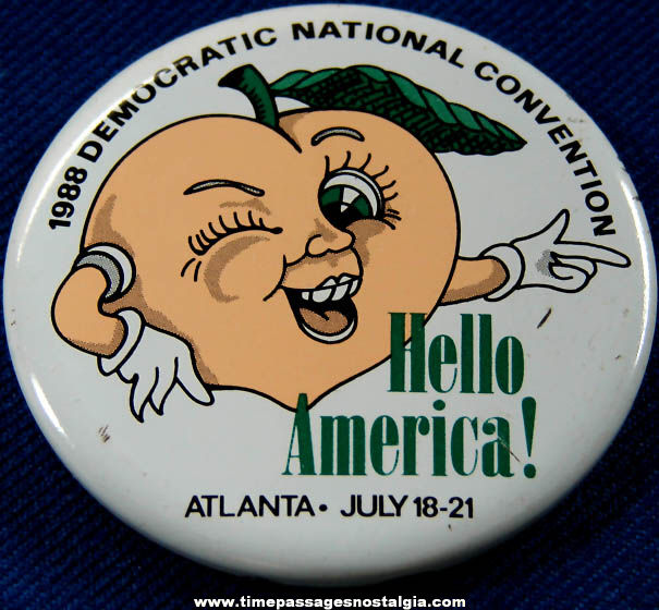 1988 Democratic National Convention Advertising Souvenir Pin Back Button