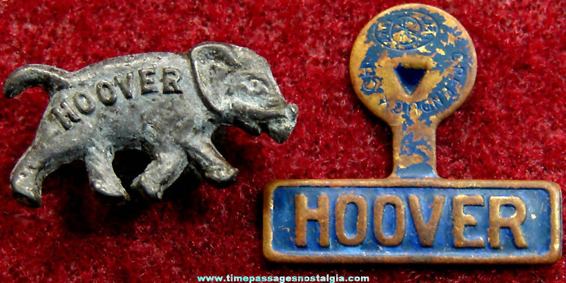 (2) Different Small Old Herbert Hoover Political Campaign Items