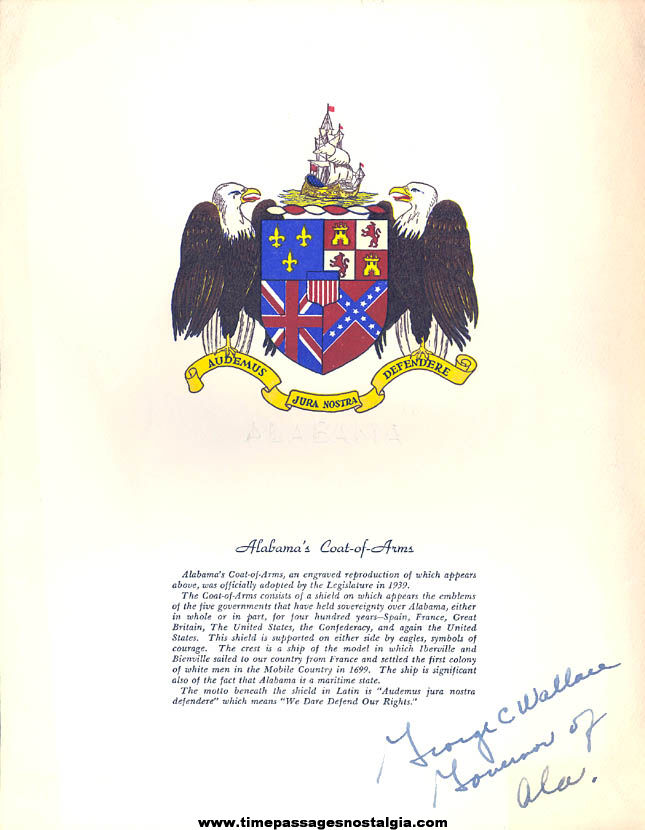 Old Governor George Wallace Signed Alabama Coat of Arms Sheet
