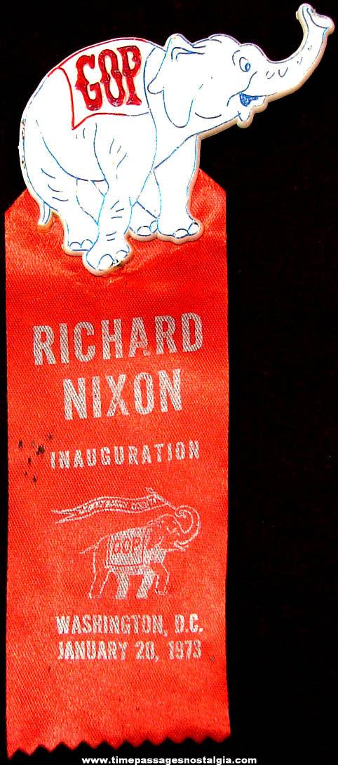 1973 United States President Richard M. Nixon Inauguration Advertising Souvenir Ribbon