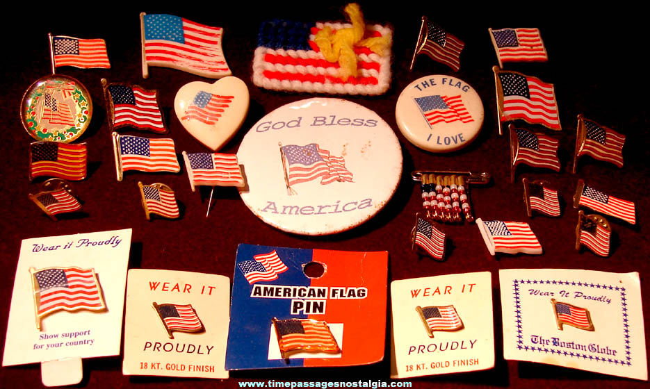 (29) Small Colorful Patriotic American Flag Pins