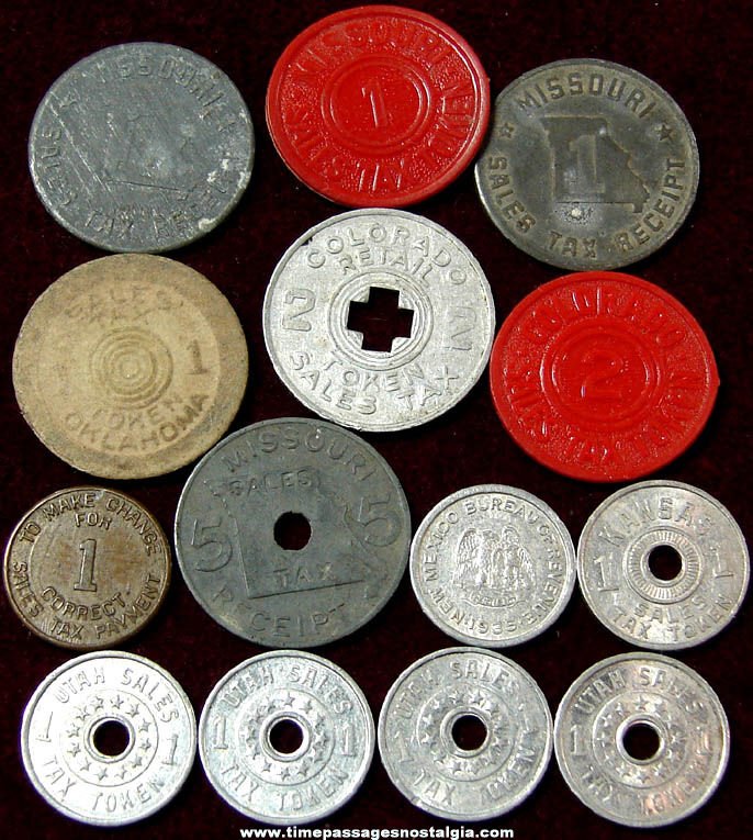 (14) Various Old United States Tax Related Token Coins