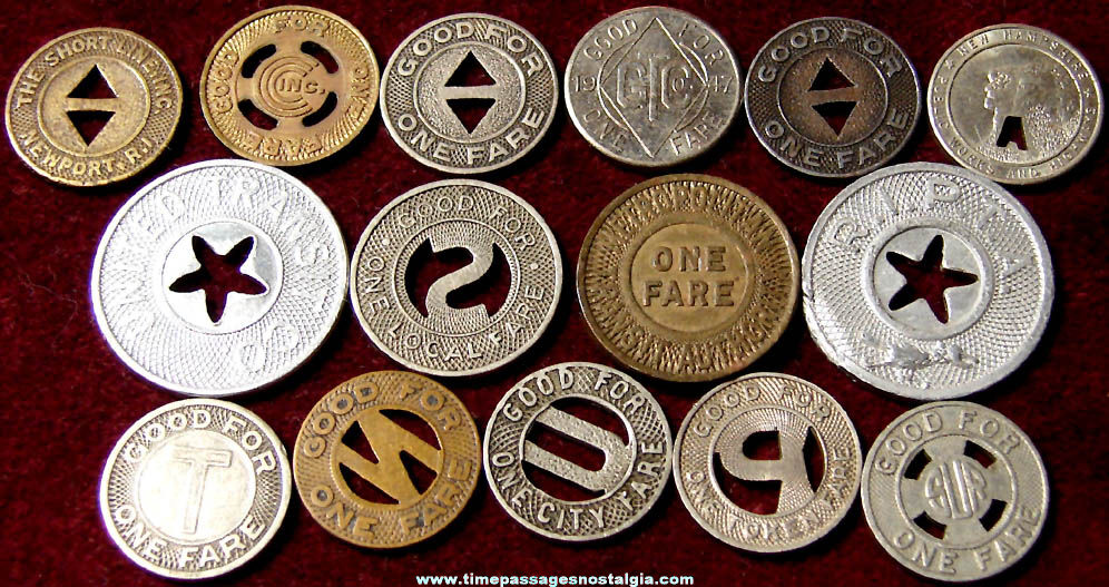 (15) Various Assorted Old Transportation Token Coins