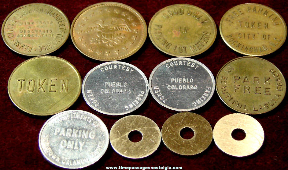 (12) Various Assorted Old Transportation Parking Token Coins