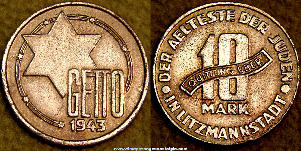1943 World War II Jewish 10 Mark Ghetto Coin