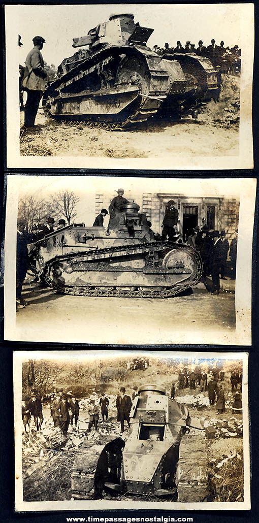 (3) Small Old Unidentified Army Military Tank Photographs