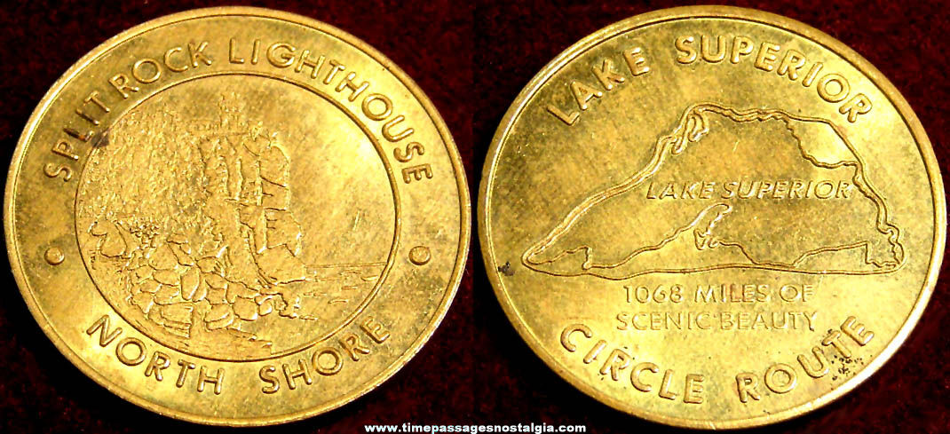 Old Lake Superior and Split Rock Light House Advertising Souvenir Brass Token Coin