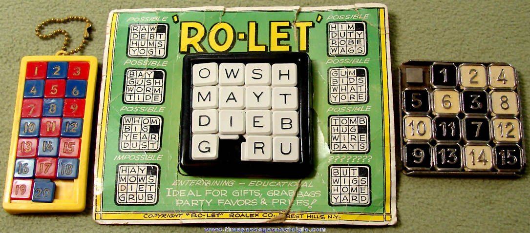 (3) Different Old Word and Number Slide Puzzles