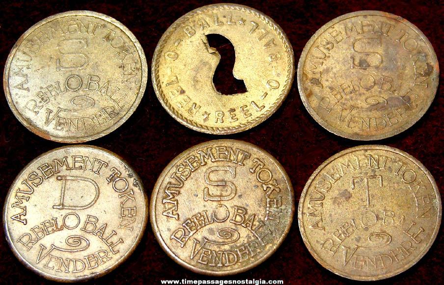 (6) 1930s Reel O Ball Baseball Trade Stimulator Slot Machine Brass Token Coins