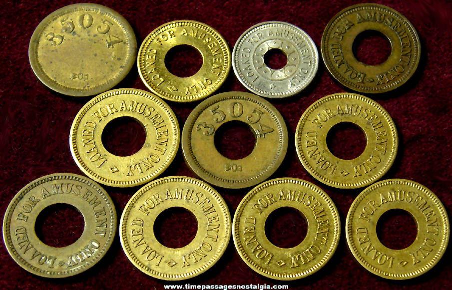 (11) Old O.K. Vender Amusement Arcade Token Coins