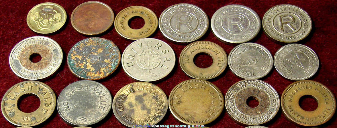 (35) Old Amusement Arcade or Slot Machine Token Coins