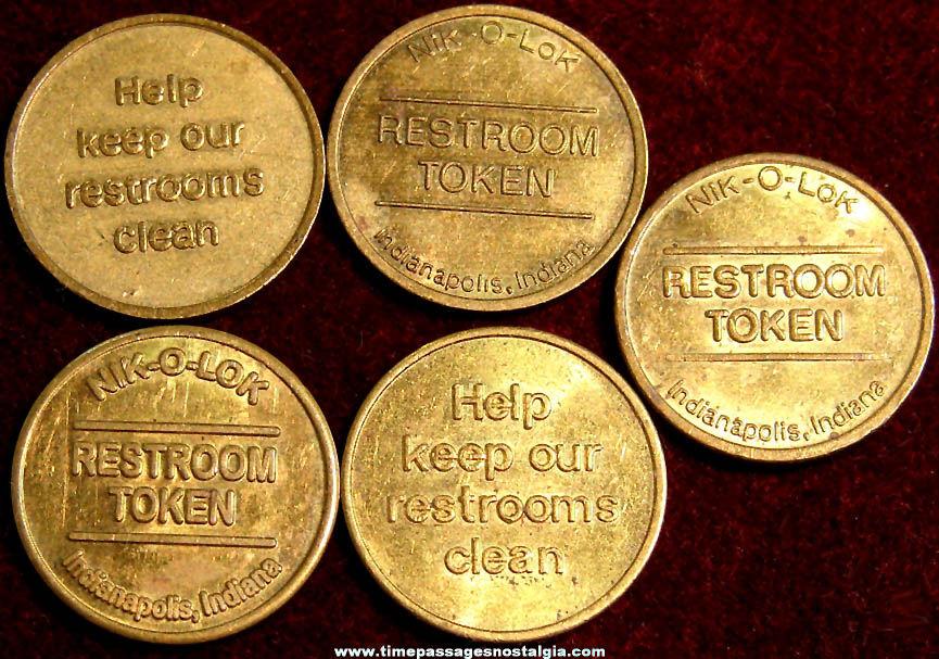 (5) Matching Old Nik-O-Lok Brass Restroom Token Coins