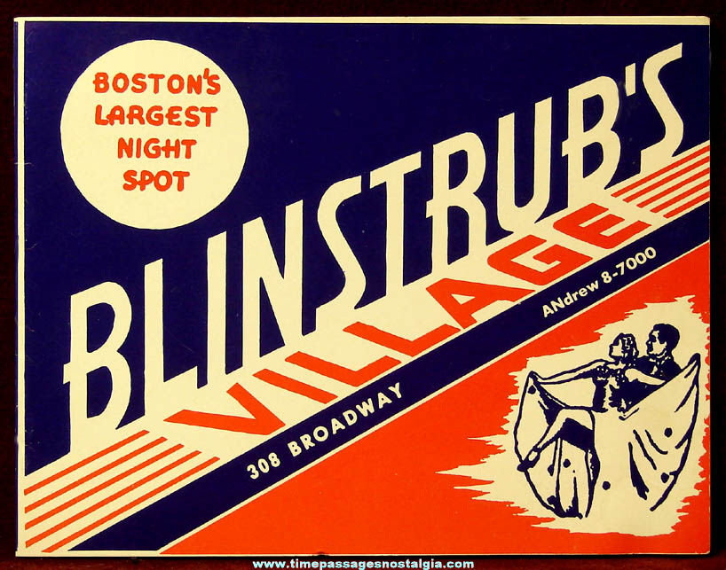 Old Blinstrub's Night Club Advertising Souvenir Photograph Folder