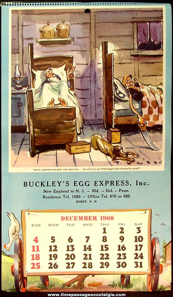 Colorful 1960 Paul Webb Mountain Boys Egg Company Advertising Premium Calendar