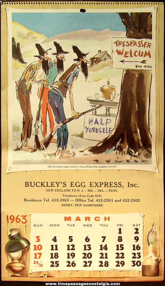 Colorful 1963 Paul Webb Mountain Boys Egg Company Advertising Premium Calendar