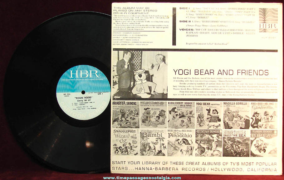 ©1965 Hanna Barbera Robin Hood Starring Top Cat Vinyl Record Album