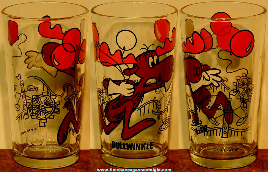 Old Bullwinkle Moose Cartoon Character Pepsi Advertising Drink Glass