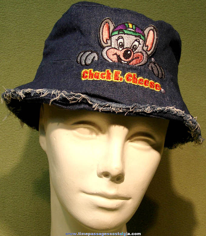 Chuck E. Cheese Character Pizza Arcade Advertising Prize Embroidered Denim Cloth Hat