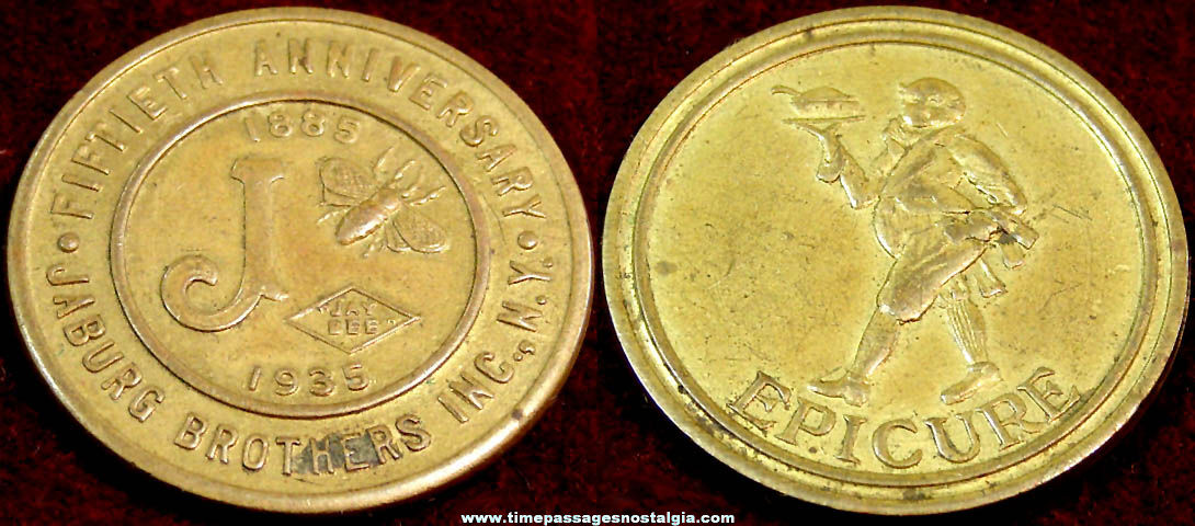1935 Jaburg Brothers 50th Anniversary Advertising Premium Token Coin