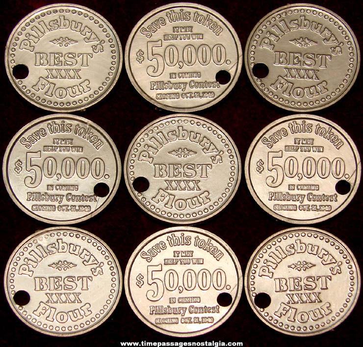 (9) 1949 Pillsbury Best XXXX Flour Contest Advertising Token Coin Charms