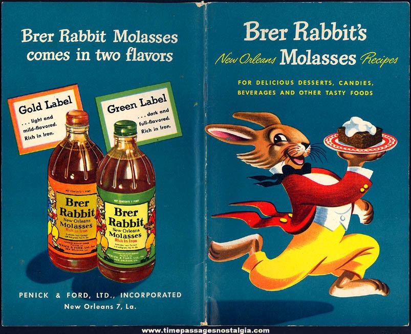 ©1948 Brer Rabbit New Orleans Molasses Advertising Premium Recipe Cook Book