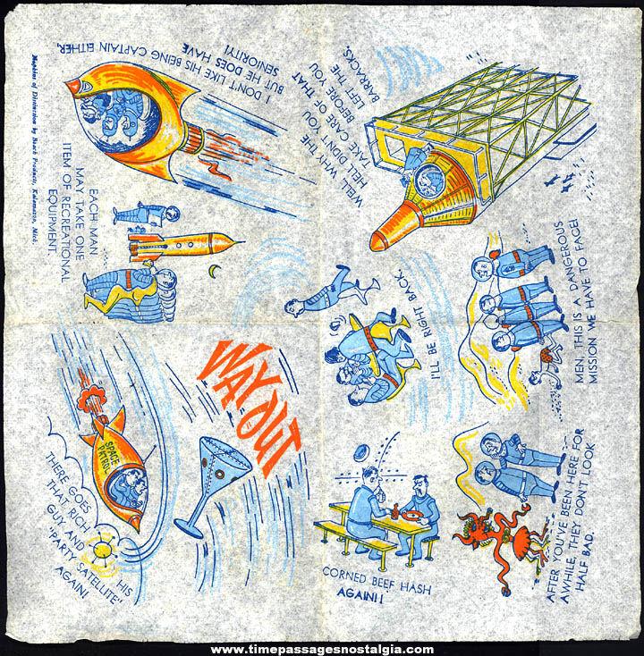 Old Unused Way Out Space Astronaut & Alien Comic Joke Bar Napkin