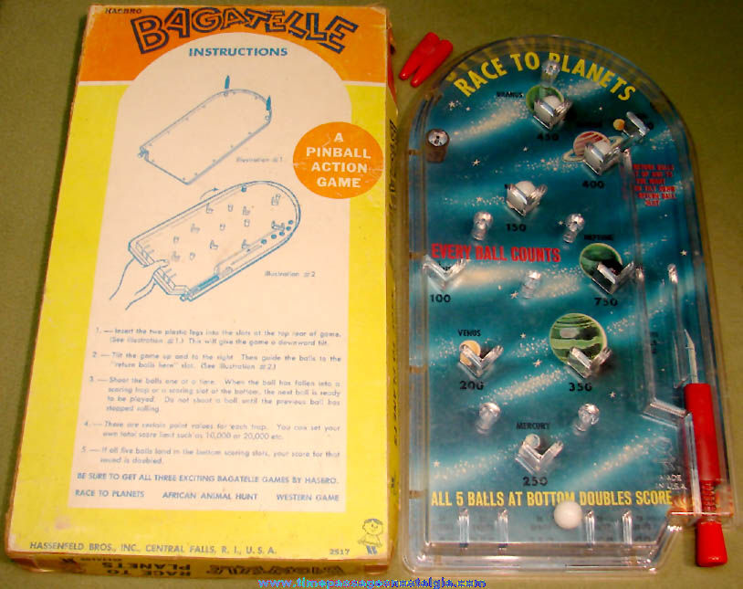 Old Boxed Hasbro Race To The Planets Toy Marble Bagatelle Pin Ball Game