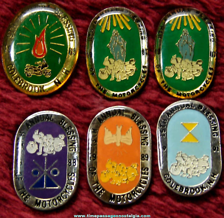 (6) Colebrook New Hampshire Blessing of The Motorcycles Advertising Souvenir Pins