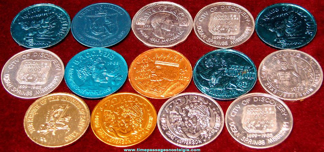 (14) Old Mardigras Carnival Parade Advertising Token Coins