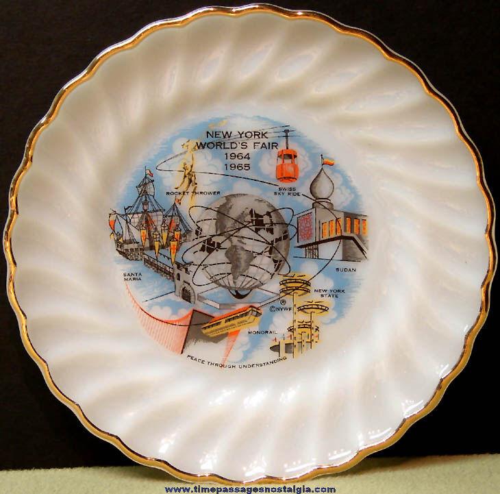 Colorful 1964 - 1965 New York World's Fair Anchor Hocking Advertising Souvenir Glass Plate