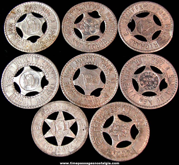 (8) Old Arcade Souvenir Personalized Good Luck Token Coins