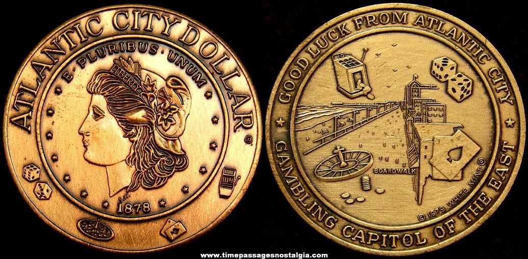 ©1979 Atlantic City Gambling Advertising Souvenir Dollar Good Luck Token Coin