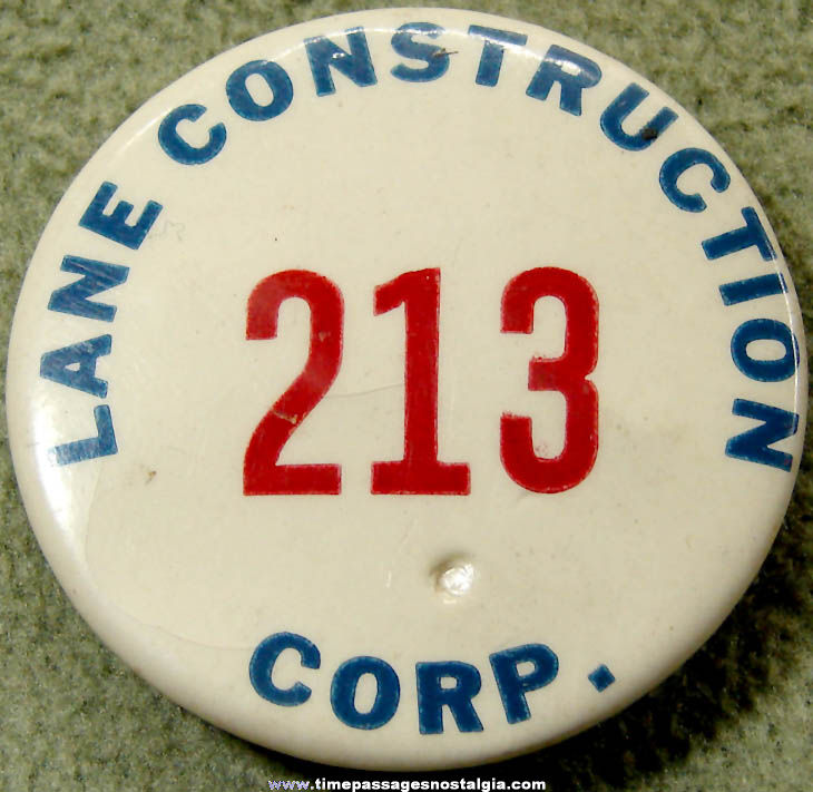 Old Numbered Lane Construction Corporation Employee Pin Back Button Badge
