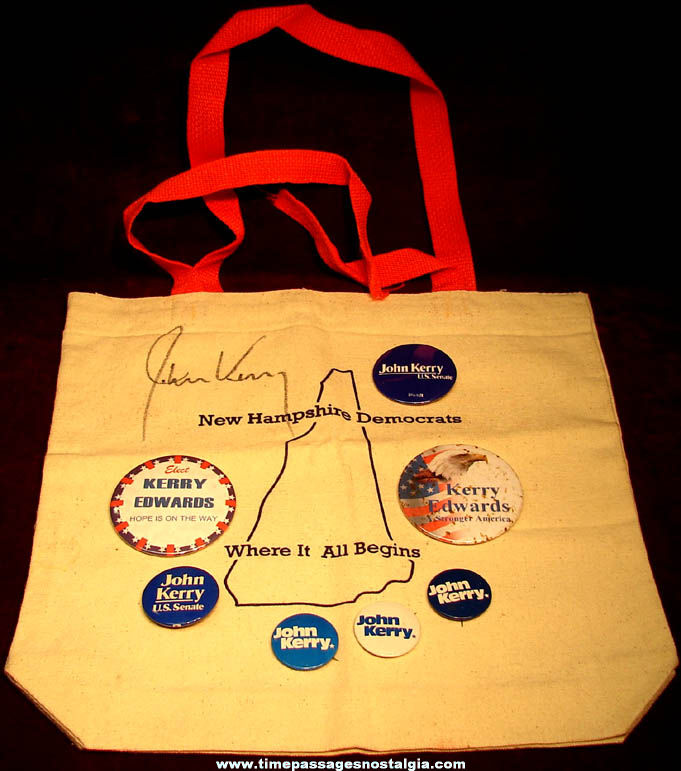 (8) Different 2004 John Kerry & John Edwards Political Campaign Items