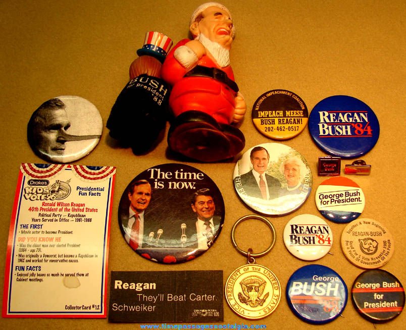 (17) Different U.S. President Ronald Reagan & George Bush Political Campaign Items