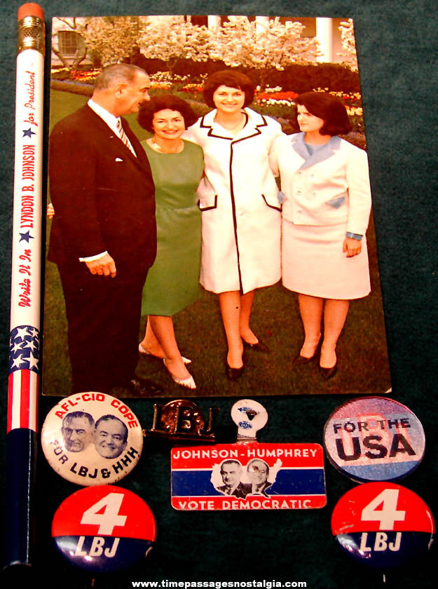 (8) Small Old U.S. President Lyndon B. Johnson, & Hubert Humphrey Campaign Items