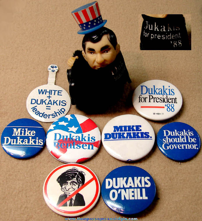 (9) Different Old Massachusetts Governor Mike Dukakis Political Campaign Items