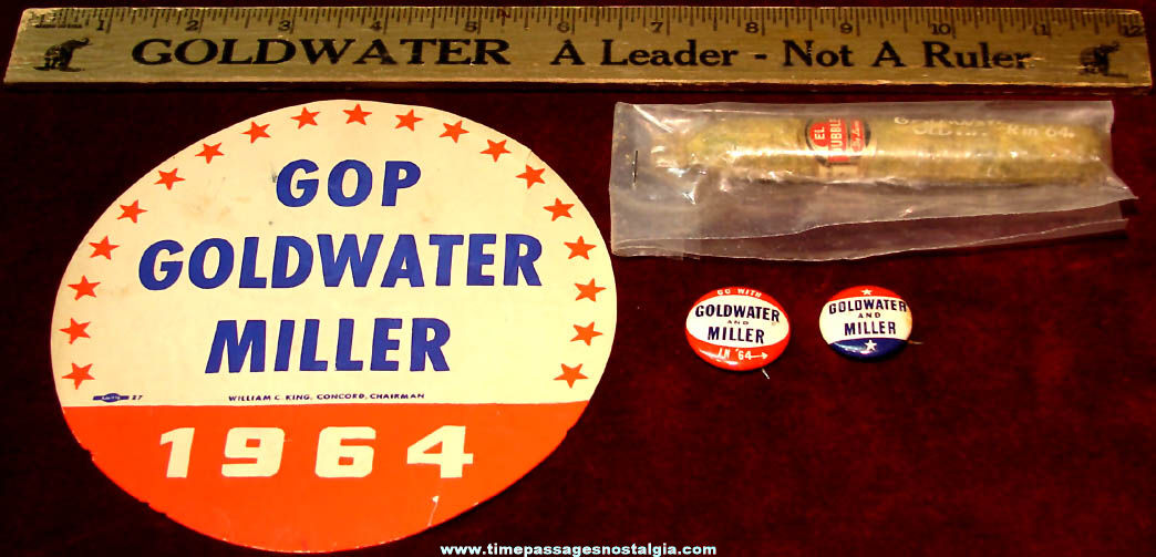 (5) Different 1964 Arizona Senator Barry Goldwater & William Miller Political Campaign Items