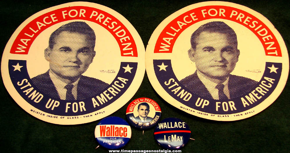 (5) 1968 Governor George Wallace Presidential Political Campaign Items