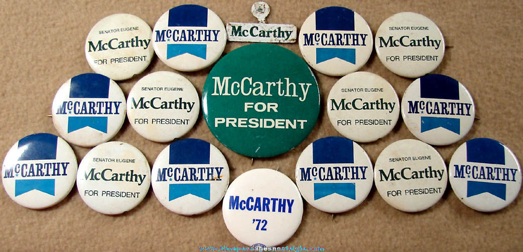 (17) Old Senator Eugene McCarthy Political Campaign Pin Back Buttons