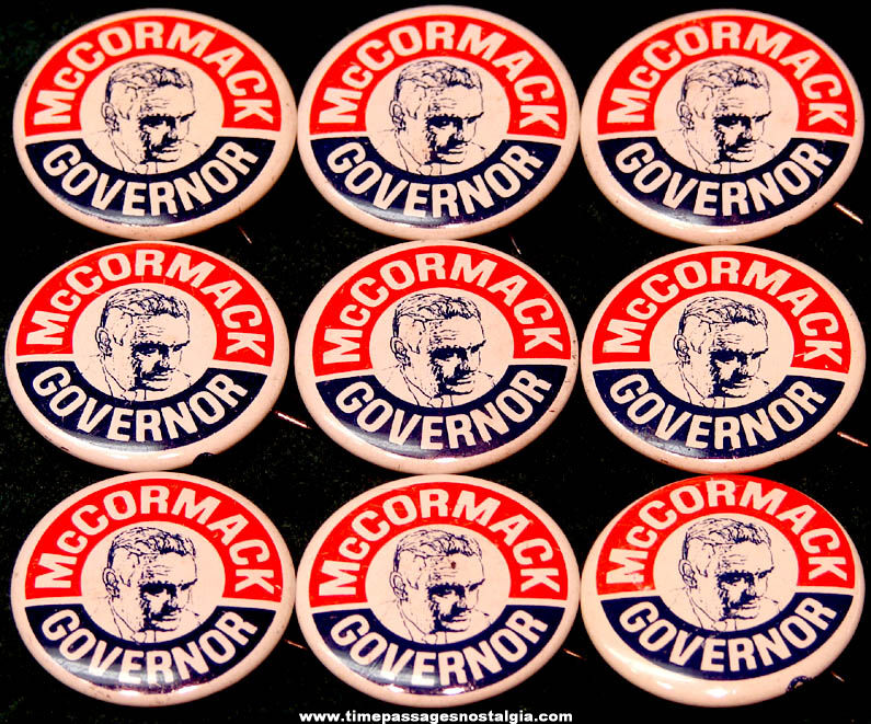 (9) 1966 Massachusetts Edward J. McCormack, Jr. Political Campaign Pin Back Buttons