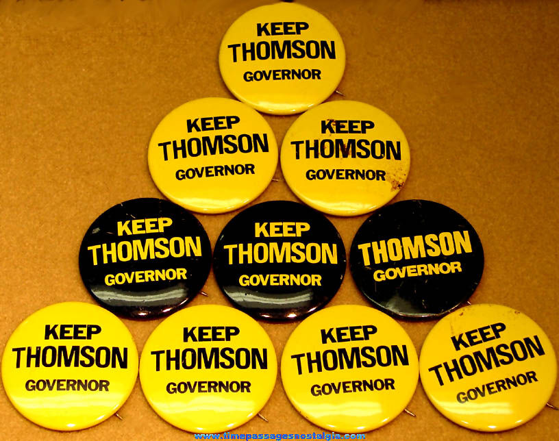 (10) 1972 New Hampshire Governor Mel Thomson Political Campaign Advertising Pin Back Buttons