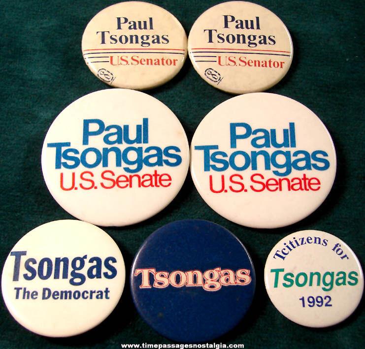 (7) Old Massachusetts Senator Paul Tsongas Political Campaign Advertising Pin Back Buttons