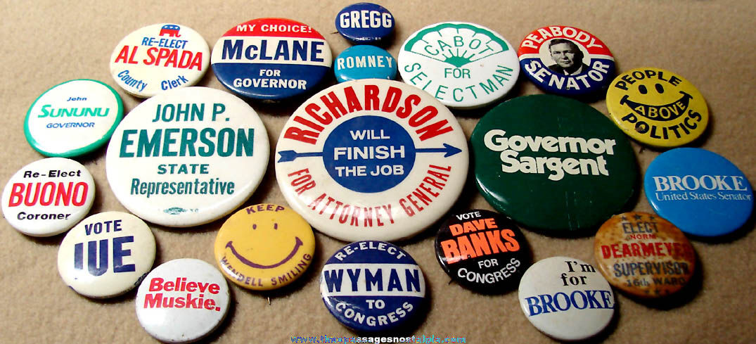 (20) Miscellaneous Assorted Old Political Campaign Pin Back Buttons